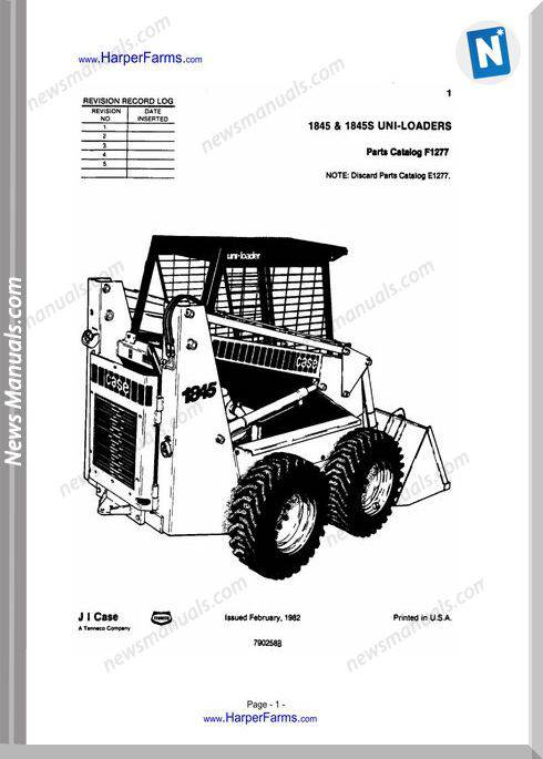 Case 1845 1845S Uni Loaders Parts