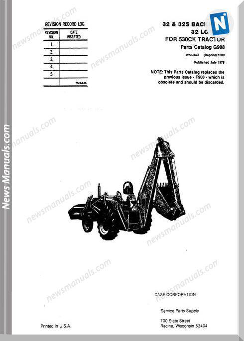 Case 32 32S Loader Backhoes Parts Catalog