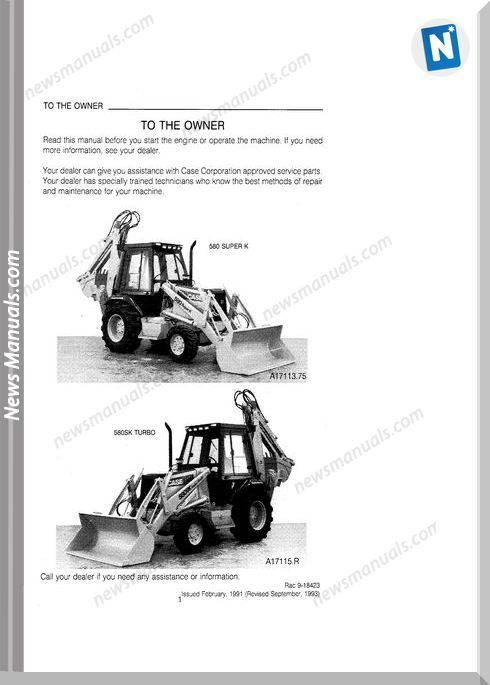 Case Backhoe Loader Model 580Sk Operator Manual