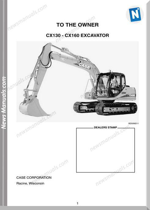 Case Excavator Cx130 Cx160 Operators Manual