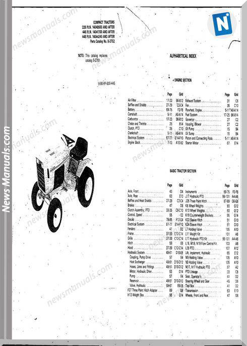 Case Ingersoll 226 446 448 P.I.N (8-2752) Parts Catalog