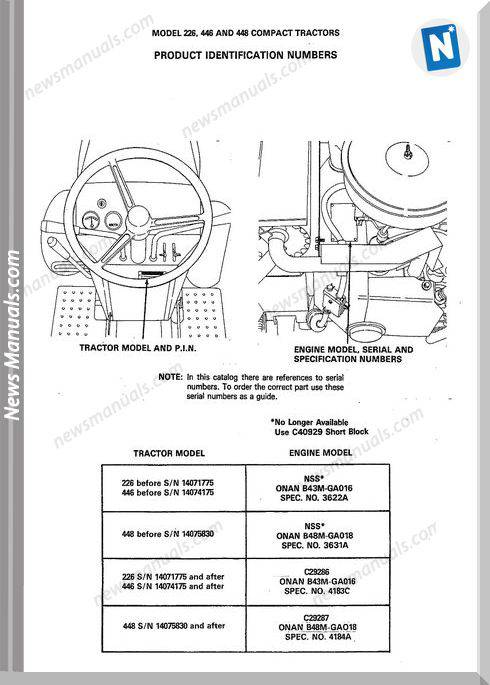 Case Ingersoll 226 446 448 P.I.N (8-2753) Parts Manual
