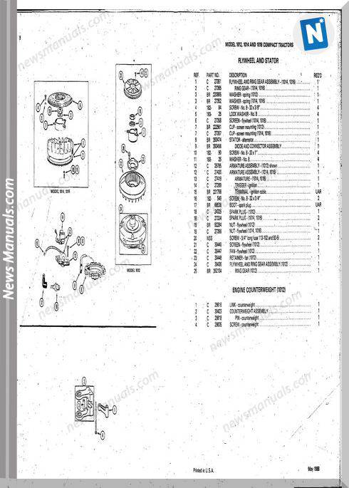 Case Ingersoll Tractor 1012-1014-1016 Parts Catalogue