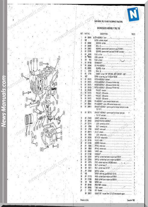 Case Ingersoll Tractor 108-110-118 Service Parts Manual