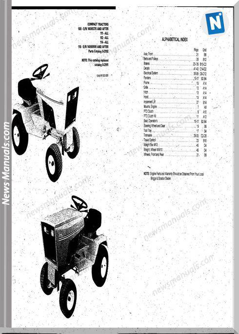 Case Ingersoll Tractor 108 Sn-111-112-114 Parts Catalog