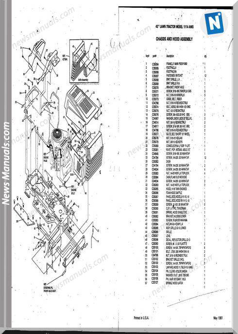 Case Ingersoll Tractor 1114Aws(8-3180) Parts Catalog