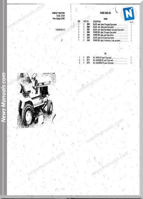 Case Ingersoll Tractor 1212G1212M(8-3260) Parts Catalog