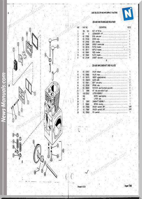 Case Ingersoll Tractor 220-222-224 B1322 Parts Catalog