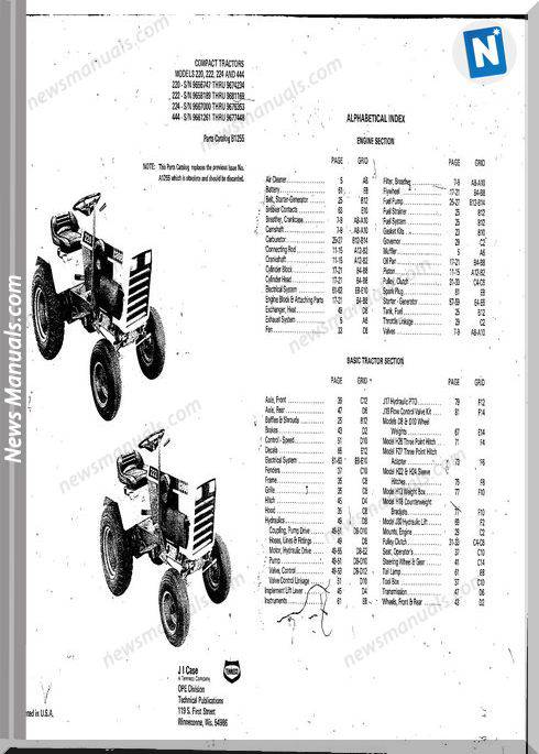 Case Ingersoll Tractor 222-224-444 B1255 Parts Catalog