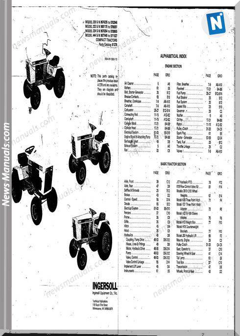 Case Ingersoll Tractor 222-224-444 B1278 Parts Catalog