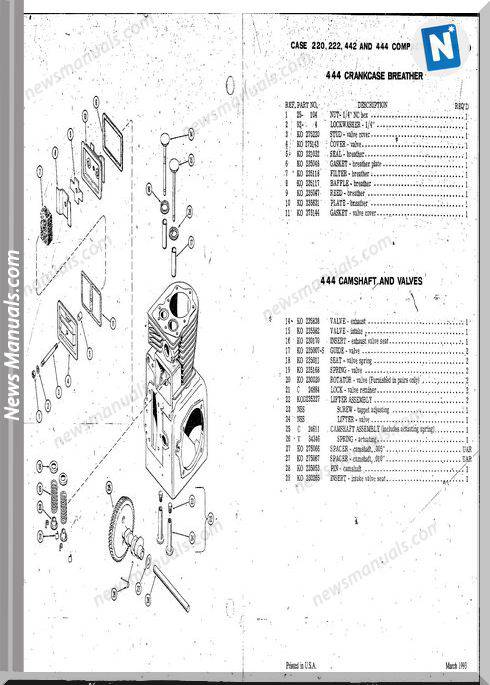 Case Ingersoll Tractor 222-224-444 D1181 Parts Catalog