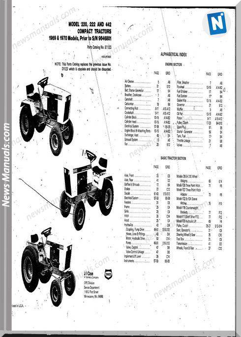 Case Ingersoll Tractor 222-224-444 E1123 Parts Catalog