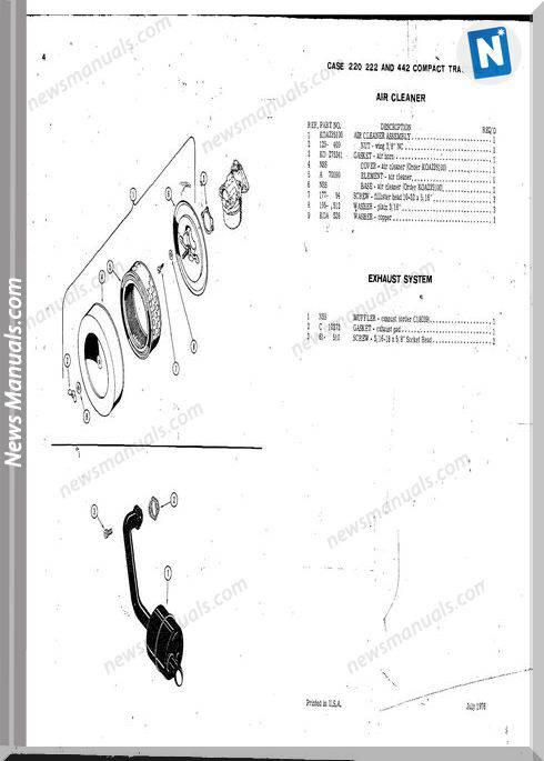Case Ingersoll Tractor 222-224-444 E1123 Parts Catalog
