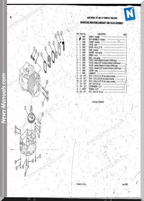 Case Ingersoll Tractor Model 107-117 Parts Catalog