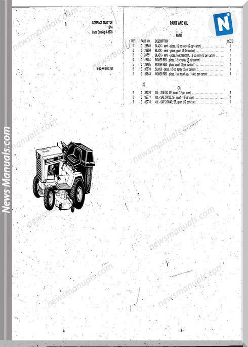 Case Ingersoll Tractor Model 1214(8-3270) Parts Catalog