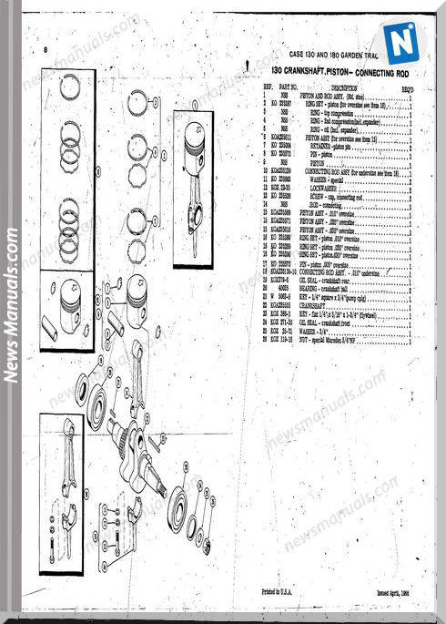Case Ingersoll Tractor Model 130180 (A954)Parts Catalog