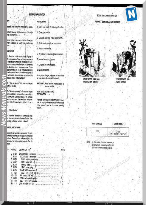 Case Ingersoll Tractor Model 2012(8-3220) Parts Catalog