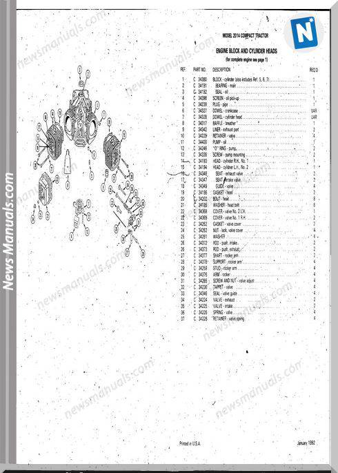 Case Ingersoll Tractor Model 2014(8-3210) Parts Catalog