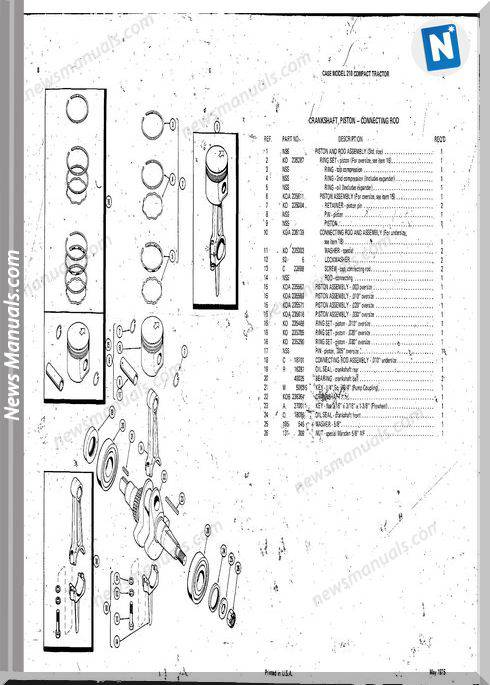 Case Ingersoll Tractor Model 210(1310) Parts Catalog