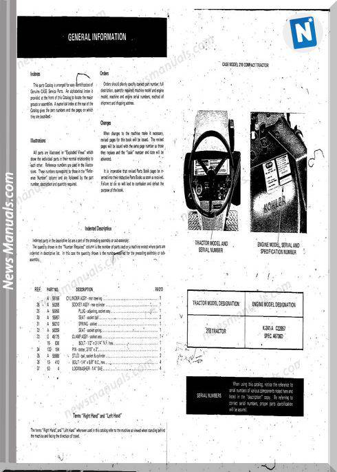 Case Ingersoll Tractor Model 210(1323) Parts Catalog