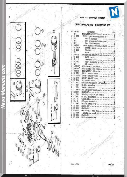Case Ingersoll Tractor Model 444 (D1135) Parts Catalog