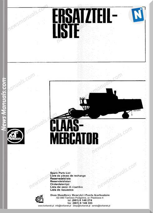 Claas Mercator Models German Language Parts Manual