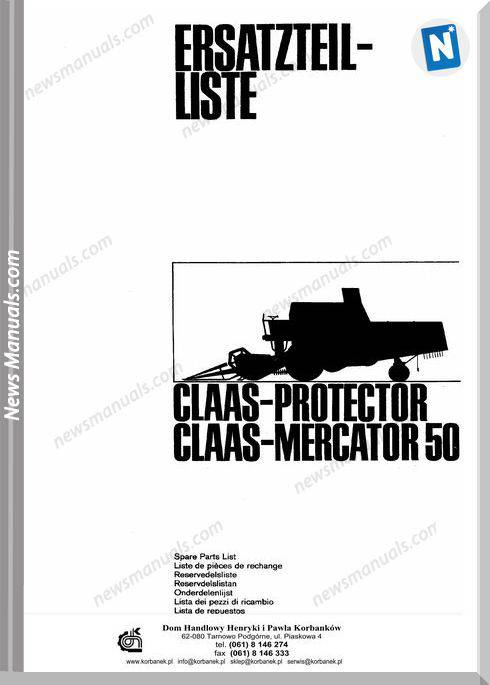 Claas Protector Mercator 50 Models Parts Manual