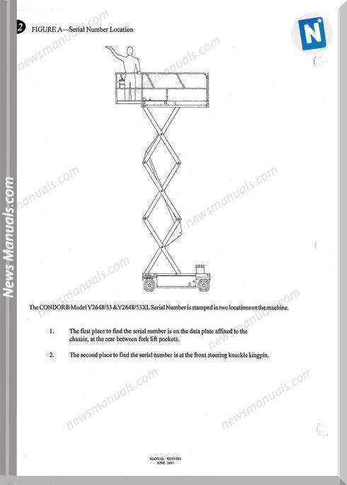 Condor Scissors Lift V2648Xl V2653Xl 92357 Parts Book