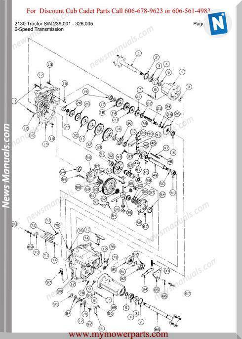Cub Cadet 2130 Tractor Sn 239001 326005 Parts Manual