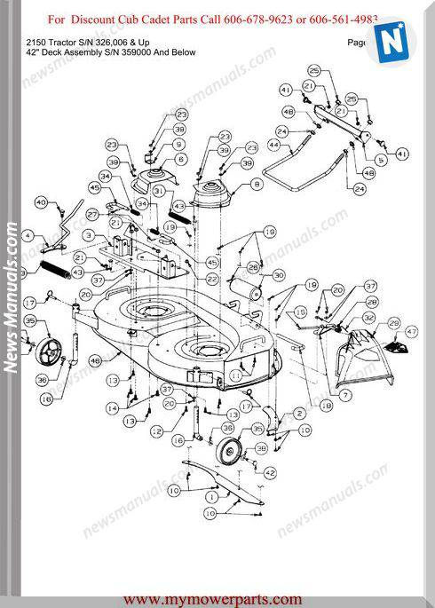 Cub Cadet 2150 Tractor Sn 326006-Up Parts Manual