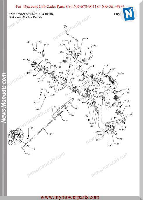 Cub Cadet 3206 Tractor Sn 1J310G Before Parts Manual