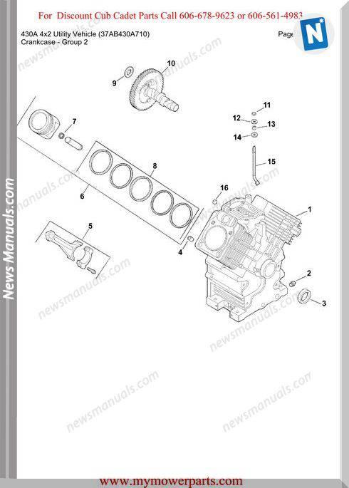 Cub Cadet 430A 4X2 Utility 37Ab430A710 Parts Manual