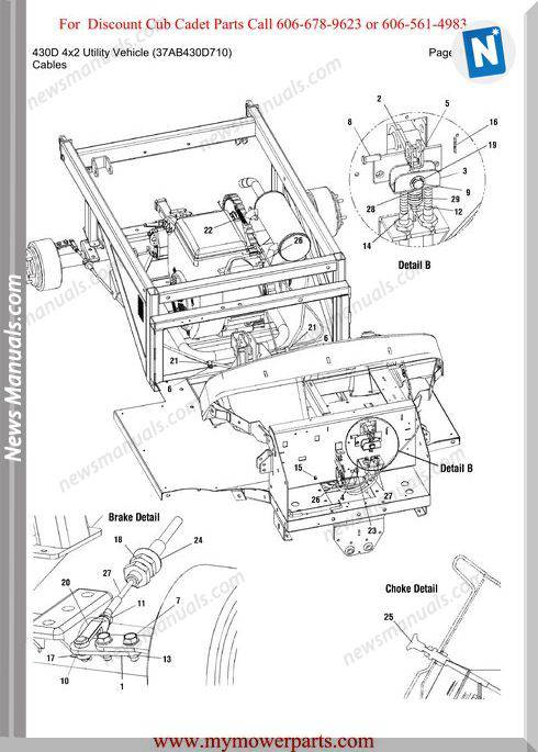 Cub Cadet 430D 4X2 Utility 37Ab430D710 Parts Manual