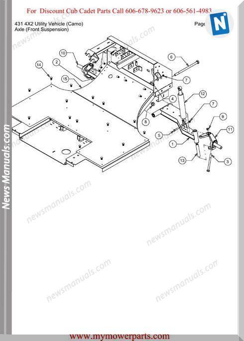 Cub Cadet 431 4X2 Utility Vehicle Camo Parts Manual