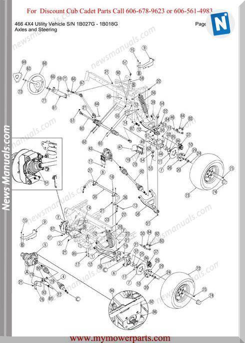 Cub Cadet 466 4X4 Utility Sn 1B027G 1B018G Parts Manual