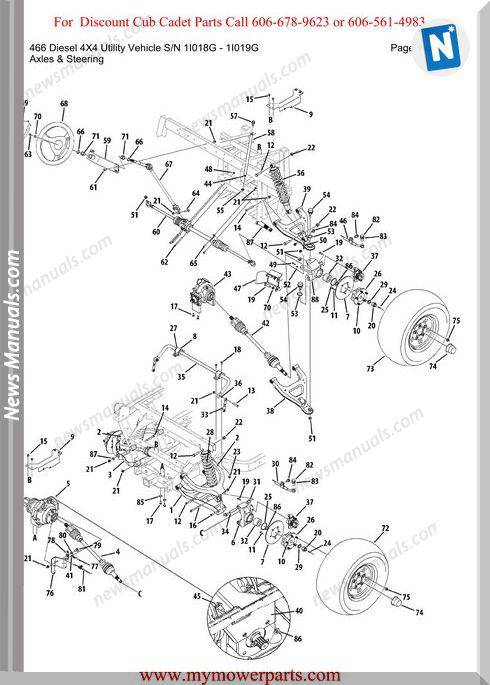 Cub Cadet 466 Diesel 4X4 Utility Sn 1I018G 1I019G Parts