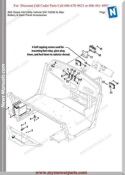 Cub Cadet 46G Diesel 4X4 Sn 1I029Z-After Parts Manual