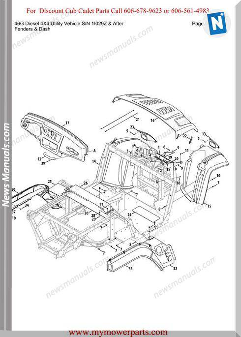 Cub Cadet 46G Diesel 4X4 Sn 1I029Z-After Parts Manual