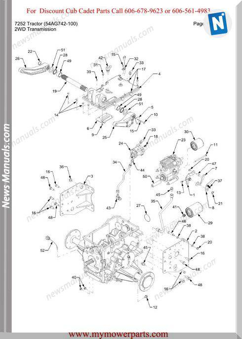 Cub Cadet 7252 Tractor 54Ag742 100 Parts Manual