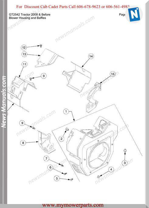 Cub Cadet Gt2542 Tractor 2008 And Before Parts Manual