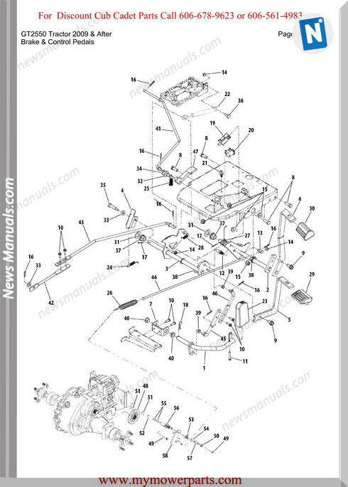 Cub Cadet Gt2550 Tractor 2009 And After Parts Manual