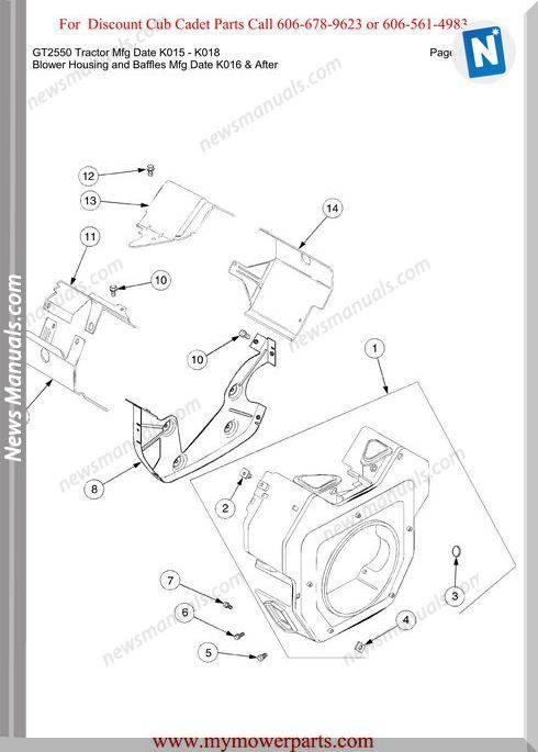 Cub Cadet Gt2550 Tractor Mfg Date K015 K018 Parts