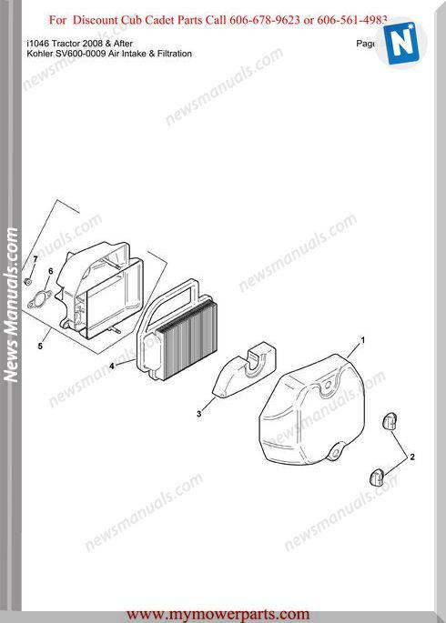 Cub Cadet I1046 Tractor 2008 And After Parts Manual