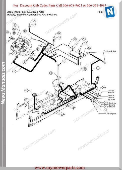Cub Cadet Parts Manual 2185 Tractor Sn 1A031G And After