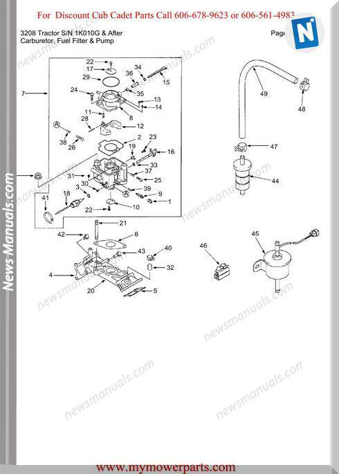 Cub Cadet Parts Manual 3208 Tractor Sn 1K010G And After