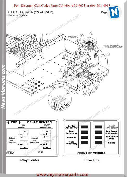 Cub Cadet Parts Manual 411 4X2 Vehicle 37An411G710