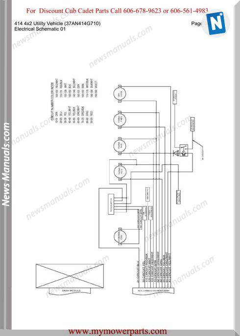 Cub Cadet Parts Manual 414 4X2 Vehicle 37An414G710