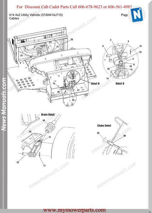 Cub Cadet Parts Manual 414 4X2 Vehicle 37An414J710