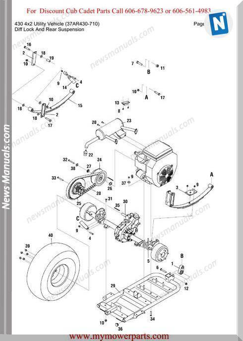 Cub Cadet Parts Manual 430 4X2 Vehicle 37Ar430 710