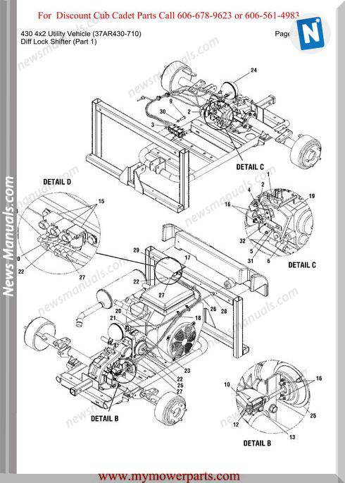 Cub Cadet Parts Manual 430 4X2 Vehicle 37Ar430 710